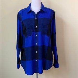 Mossimo NWT Soft Blue Plaid Long Button Down Shirt